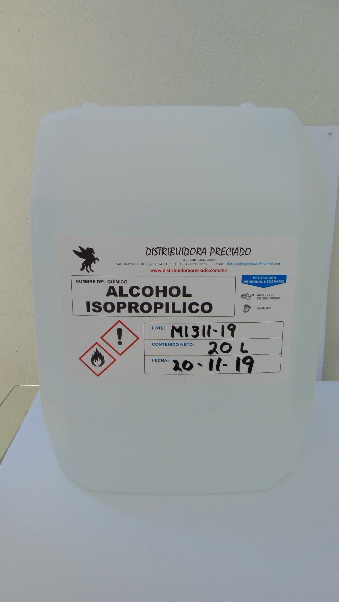 ALCOHOL ISOPROPILICO  (DENSIDAD = 0.785 )